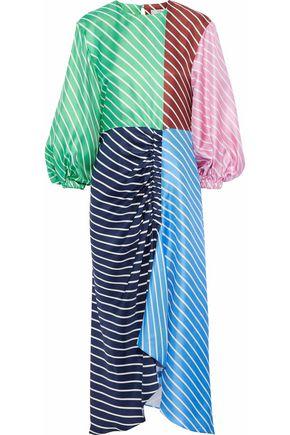 TIBI Delphina striped color-block silk-twill midi dress