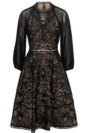 MARCHESA NOTTE Cutout chiffon-paneled guipure lace dress