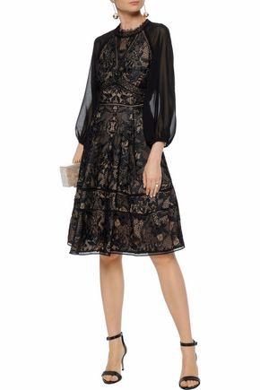 398bbd6f6fd MARCHESA NOTTE Cutout chiffon-paneled guipure lace dress