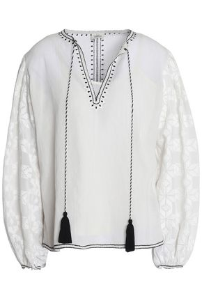 TALITHA Embroidered cotton-voile tunic