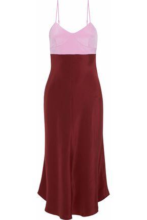 TIBI Cutout two-tone silk-satin slip dress