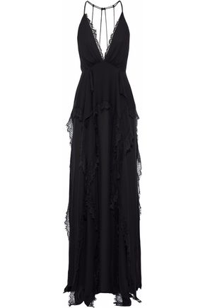 HAUTE HIPPIE Waterfall lace-paneled ruffled crepe de chine gown