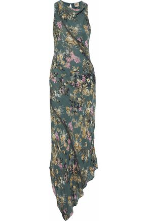 WOMAN CECILIA ASYMMETRIC CHAIN-EMBELLISHED FLORAL-PRINT SILK MAXI DRESS GREY GREEN