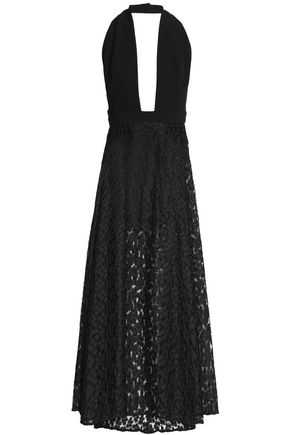 MILLY Fluted cady and embroidered gauze halterneck gown