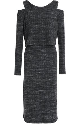 MONROW Cold-shoulder marled ribbed-knit dress