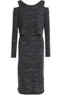 MONROW Cold-shoulder marled ribbed-knit dress