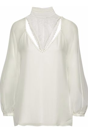 HAUTE HIPPIE Lace-paneled silk crepe de chine blouse