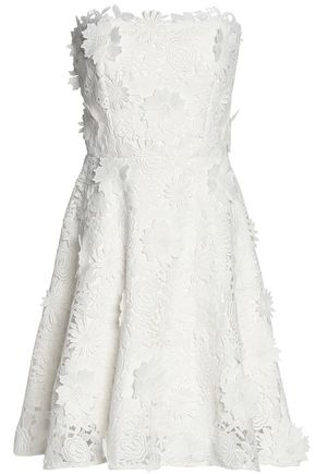 MILLY Strapless floral-appliquéd guipure lace dress
