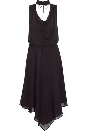 HAUTE HIPPIE Twilight lace-up draped silk crepe de chine dress