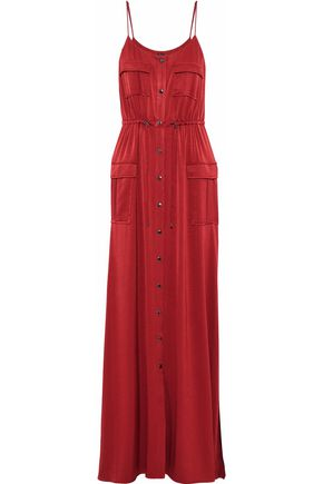 HAUTE HIPPIE Born Again Safari washed-satin maxi dress