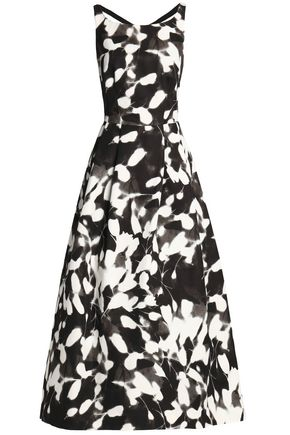 MILLY Flared printed cotton-blend faille gown