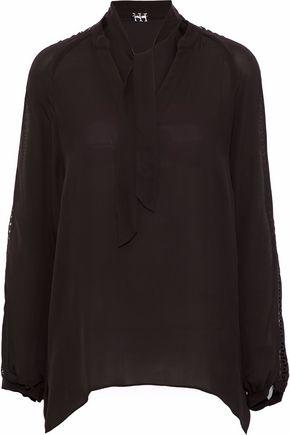 HAUTE HIPPIE Pussy-bow crochet-trimmed silk blouse