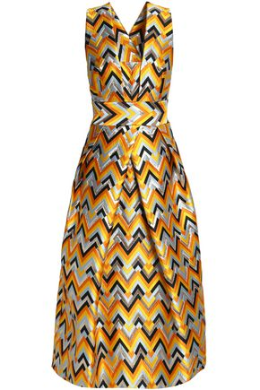 MILLY Pleated metallic jacquard midi dress