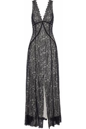 HAUTE HIPPIE Split-front Chantilly lace gown