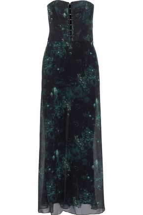 HAUTE HIPPIE Strapless layered crepe and floral-print silk-chiffon jumpsuit