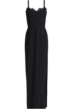 MILLY Lace-trimmed stretch-cady gown