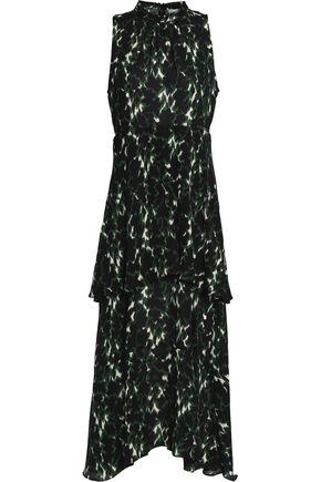 A.L.C. Tiered printed silk crepe de chine midi dress