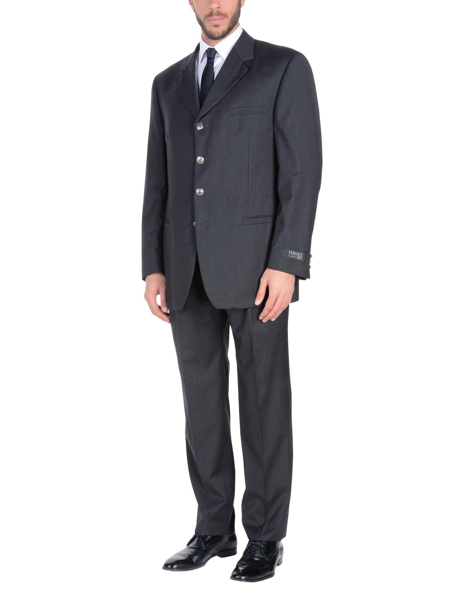 《セール開催中》VERSACE CLASSIC V2 メンズ スーツ スチールグレー 54 ウール 100%