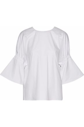 TIBI Shirred cotton-poplin top