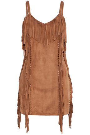 BALMAIN Fringed studded suede mini dress