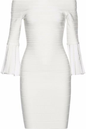 HERVÉ LÉGER Denisa off-the-shoulder crochet-trimmed bandage dress
