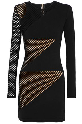 BALMAIN Open knit-paneled stretch-knit mini dress