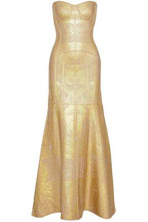 HERVÉ LÉGER Merlyn strapless metallic bandage gown