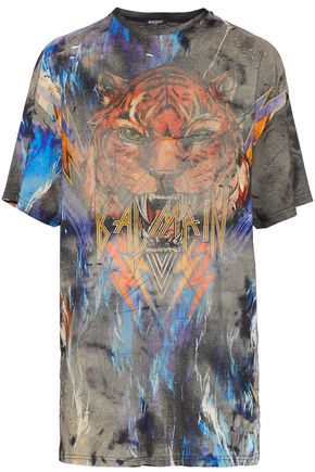 BALMAIN Distressed printed cotton-jersey T-shirt