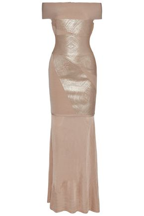 HERVÉ LÉGER Off-the-shoulder metallic bandage and stretch-knit gown