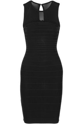 HERVÉ LÉGER Eloise open knit-paneled cutout bandage mini dress