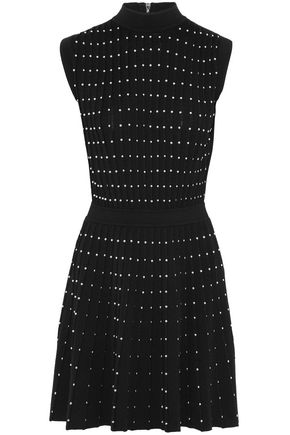 BALMAIN Pleated studded wool-blend mini dress
