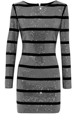 BALMAIN Crystal-embellished cotton-blend velvet mini dress