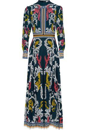 MARY KATRANTZOU Printed plissé crepe de chine maxi dress