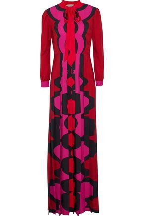 MARY KATRANTZOU Duritz pussy-bow printed crepe de chine maxi dress