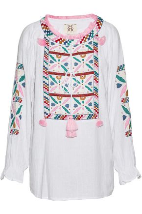 FIGUE Lou Lou tasseled embroidered cotton-gauze tunic