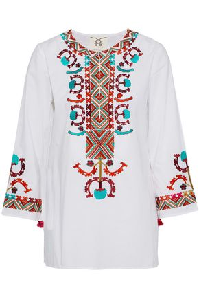 FIGUE Embroidered cotton-poplin tunic