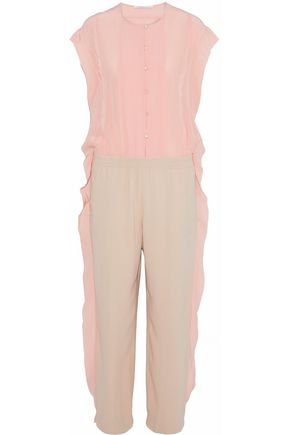 AGNONA Ruffle-trimmed two-tone silk-chiffon and crepe jumpsuit