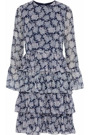MIKAEL AGHAL Tiered printed chiffon mini dress
