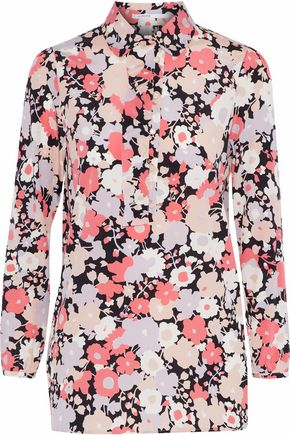 AGNONA Ruffle-trimmed floral-print stretch-silk shirt