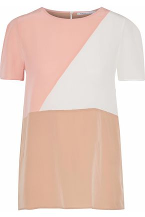 AGNONA Color-block silk crepe de chine top