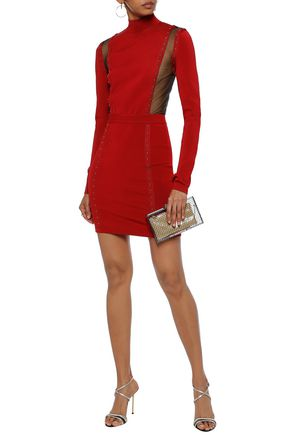 BALMAIN Mesh-paneled studded stretch-knit turtleneck mini dress