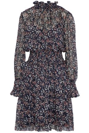 MIKAEL AGHAL Shirred floral-print georgette dress