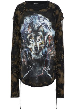 BALMAIN Lace-up printed modal and wool-blend jersey top