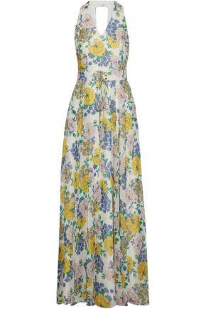 MIKAEL AGHAL Floral-print metallic chiffon maxi dress