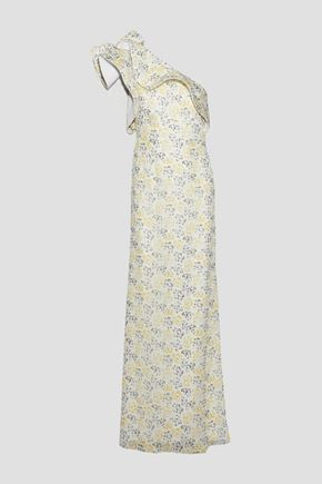 MIKAEL AGHAL One-shoulder ruffle-trimmed floral-print georgette gown