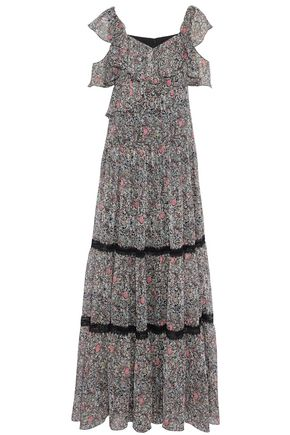 MIKAEL AGHAL Cold-shoulder lace-trimmed printed georgette maxi dress