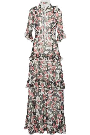 MIKAEL AGHAL Pussy-bow tiered floral-print crepe de chine maxi dress