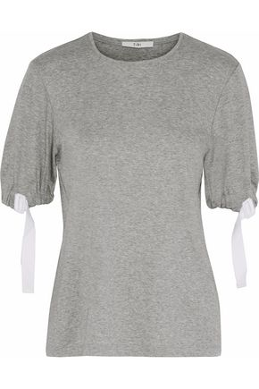 TIBI Buckled mélange cotton-jersey top