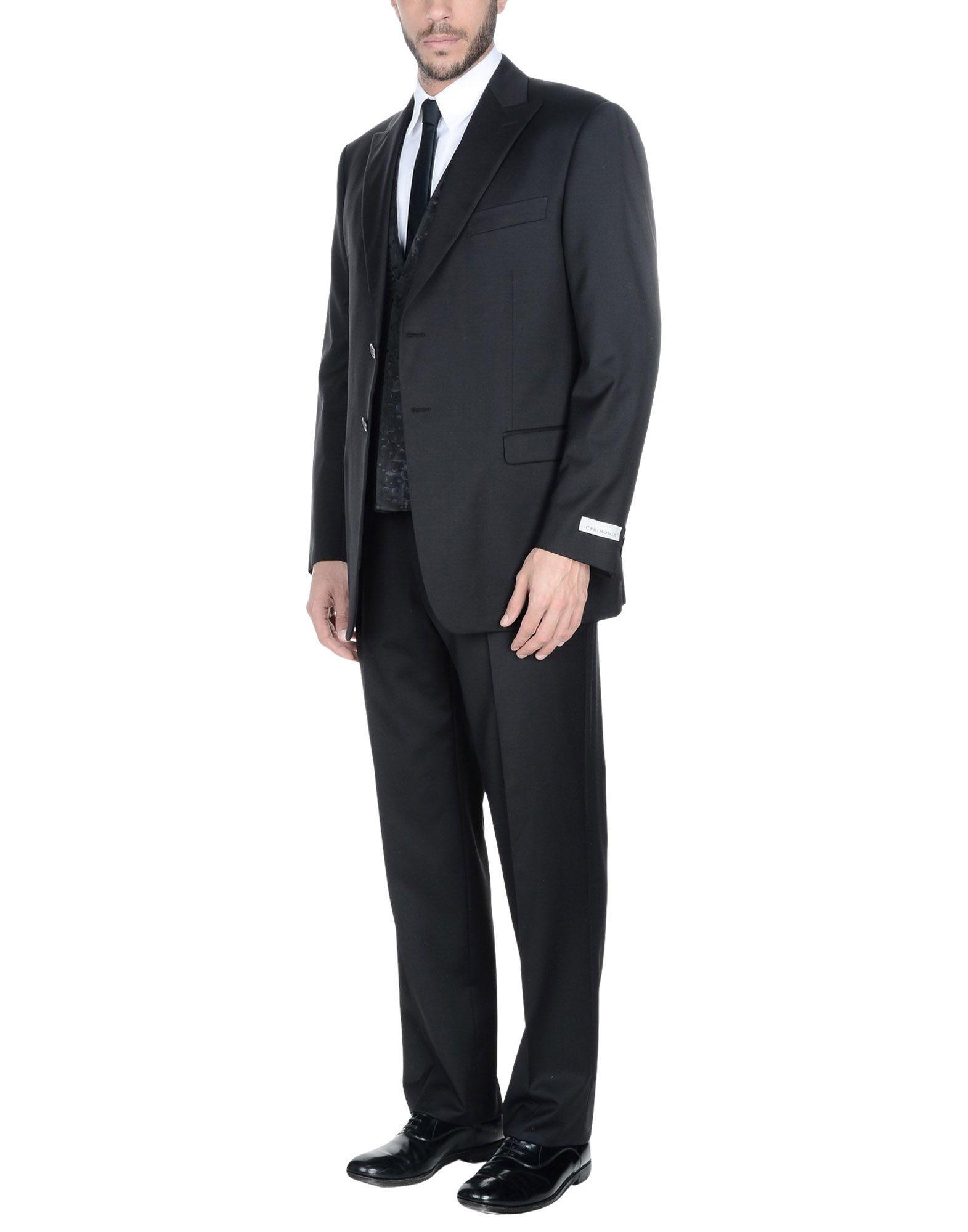 《送料無料》PAL ZILERI CERIMONIA メンズ スーツ ブラック 54 バージンウール 100%