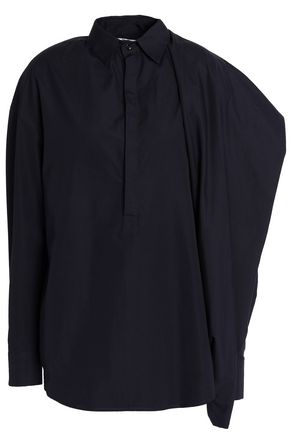 CHALAYAN Draped cotton-poplin shirt